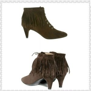 New display Maje Fox Fringed Suede Leather Granny